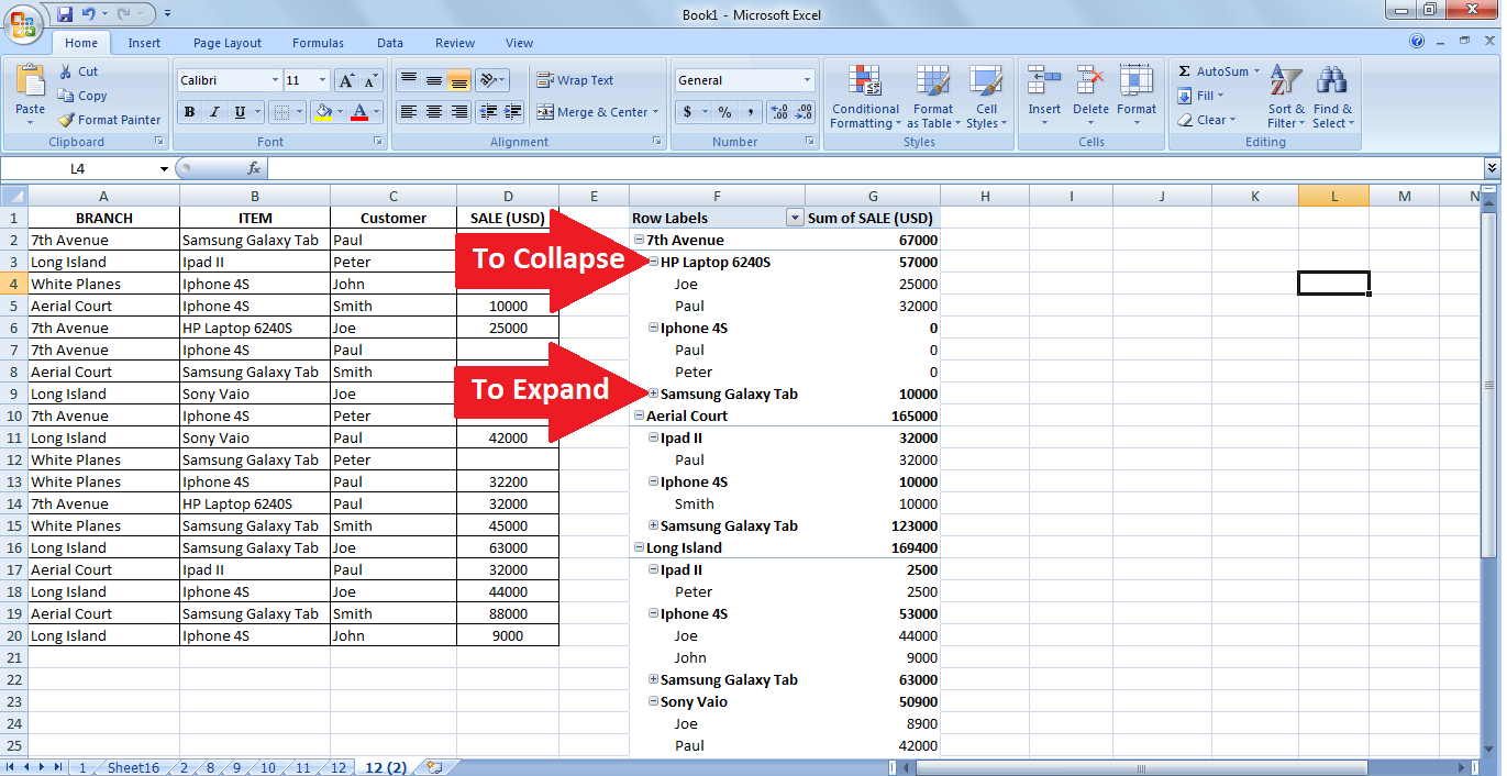 how to use pivot table in excel